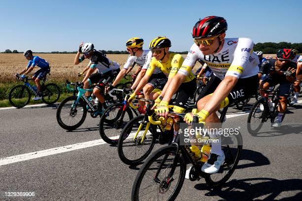 Luka Mezgec of Slovenia and Team BikeExchange, Matej Mohorič of Slovenia and Team Bahrain - Victorious, Tadej Pogačar of Slovenia Yellow Leader...