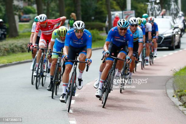 Luka Mezgec of Slovenia / Elia Viviani of Italy / Davide Cimolai of Italy / during the 25th UEC Road European Championships 2019 - Elite Men's Road...