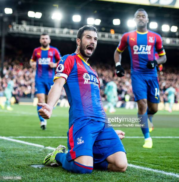 Luka Milivojevi of Crystal Palace celebrate after scoring goal during the Premier League match between Crystal Palace and Arsenal FC at Selhurst Park...