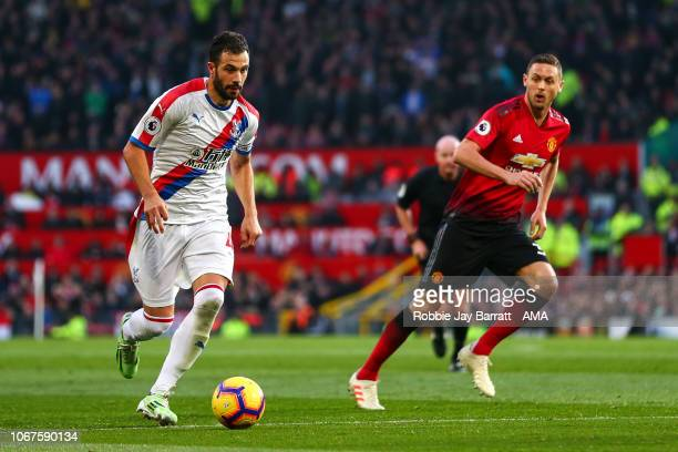 Luka Milivojevic of Crystal Palace and Nemanja Matic of Manchester United during the Premier League match between Manchester United and Crystal...