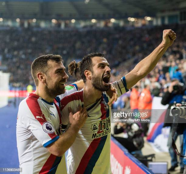 Luka Milivojevic of Crystal Palace celebrate together with his team mate James McArthur after scoring his 1st and his team's 3rd goal during the...