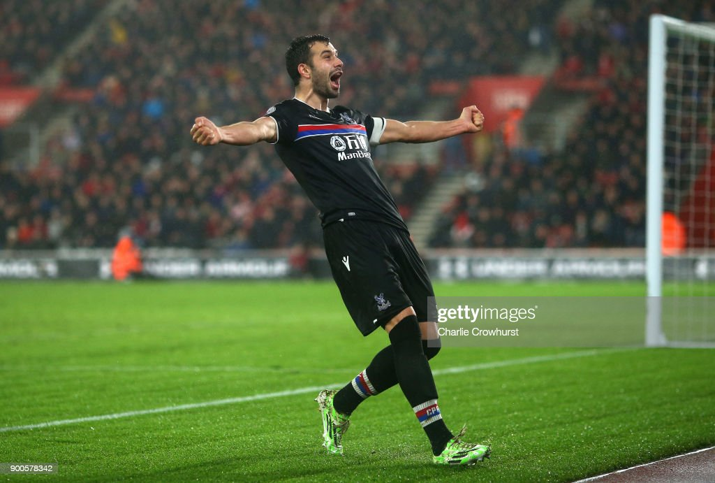 Luka Milivojevic of Crystal Palace celebrates after scoring his sides second goal during the Premier League match between Southampton and Crystal Palace at St Mary's Stadium on January 2, 2018 in Southampton, England.