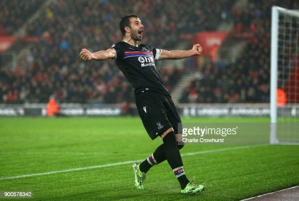 Luka Milivojevic of Crystal Palace celebrates after scoring his sides second goal during the Premier League match between Southampton and Crystal...