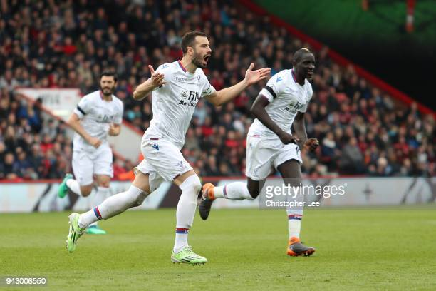 Luka Milivojevic of Crystal Palace celebrates after scoring his sides first goal during the Premier League match between AFC Bournemouth and Crystal...