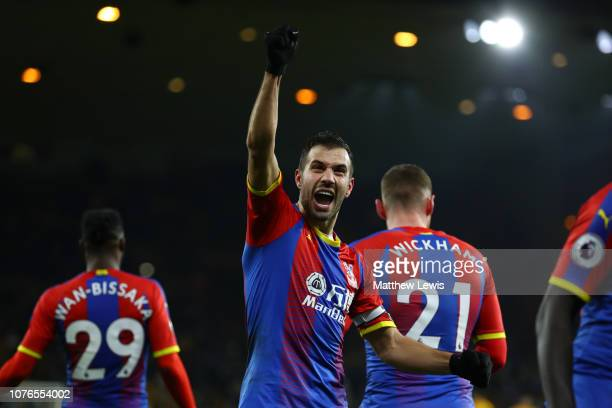 Luka Milivojevic of Crystal Palace celebrates after scoring his team's second goal from the penalty spot during the Premier League match between...