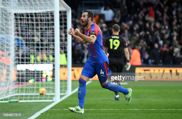 Luka Milivojevic of Crystal Palace celebrates scoring his side's second goal from the penalty spot during the Premier League match between Crystal...