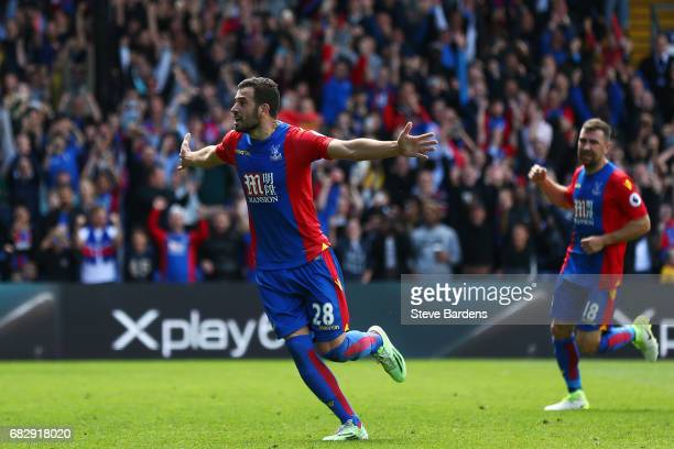 Luka Milivojevic of Crystal Palace celebrates scoring his sides third goal during the Premier League match between Crystal Palace and Hull City at...