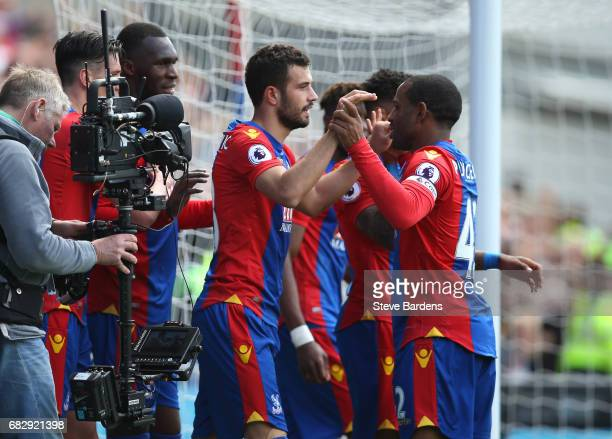 Luka Milivojevic of Crystal Palace celebrates scoring his sides third goal with Jason Puncheon of Crystal Palace during the Premier League match...