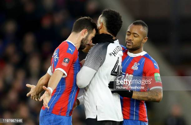 Luka Milivojevic of Crystal Palace clashes with Tom Huddlestone of Derby County during the FA Cup Third Round match between Crystal Palace and Derby...