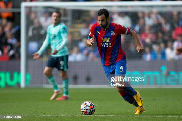 Luka Milivojevic of Crystal Palace controls the ball during the Premier League match between Crystal Palace and Leicester City at Selhurst Park,...