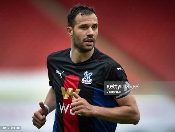 Luka Milivojevic of Crystal Palace during the Premier League match between Sheffield United and Crystal Palace at Bramall Lane on May 8, 2021 in...