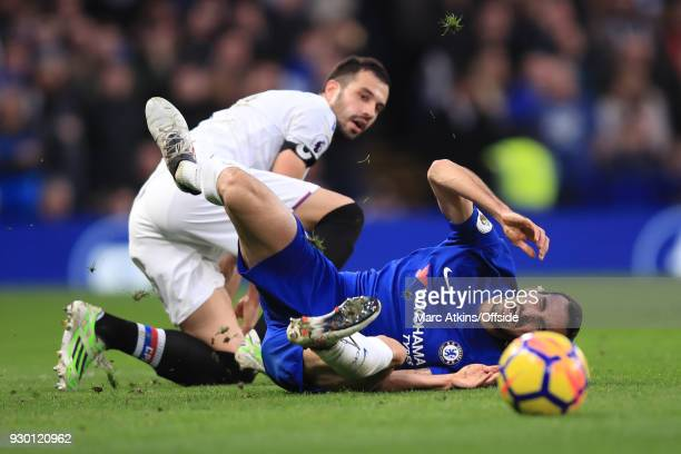 Luka Milivojevic of Crystal Palace fouls Davide Zappacosta of Chelsea during the Premier League match between Chelsea and Crystal Palace at Stamford...