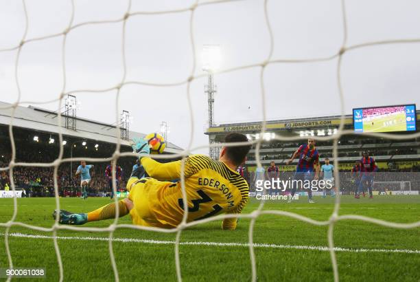 Luka Milivojevic of Crystal Palace has is penalty by Ederson of Manchester City during the Premier League match between Crystal Palace and Manchester...