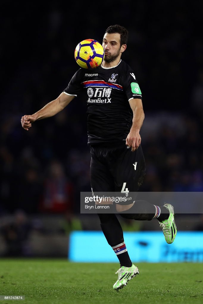 Luka Milivojevic of Crystal Palace in action during the Premier League match between Brighton and Hove Albion and Crystal Palace at Amex Stadium on November 28, 2017 in Brighton, England.