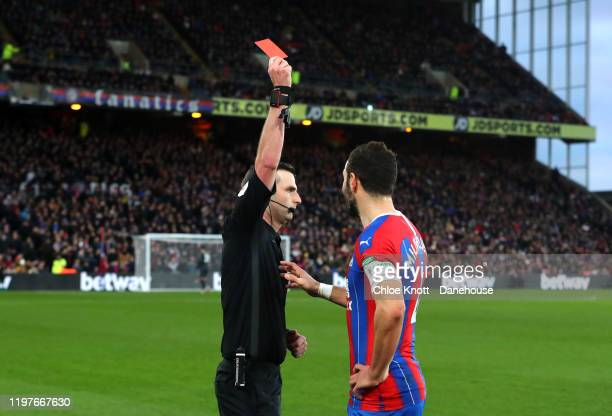 Luka Milivojevic of Crystal Palace is awarded a red card during the FA Cup Third Round match between Crystal Palace and Derby County at Selhurst Park...