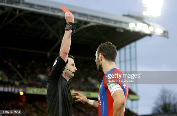 Luka Milivojevic of Crystal Palace is shown a red card during the FA Cup Third Round match between Crystal Palace and Derby County at Selhurst Park...