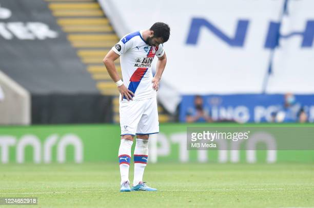 Luka Milivojevic of Crystal Palace looks dejected after his side concede a third goal during the Premier League match between Leicester City and...