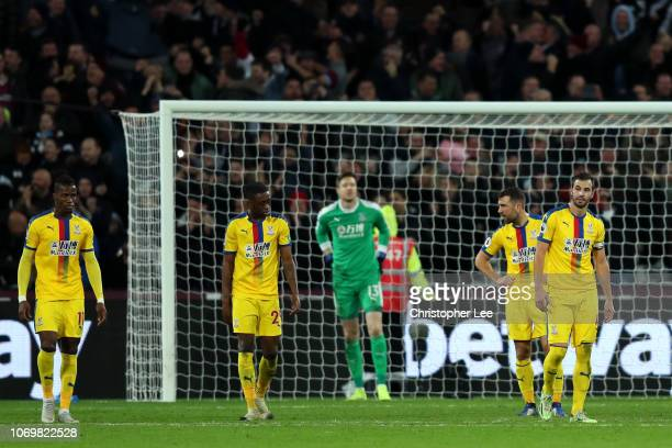 Luka Milivojevic of Crystal Palace looks dejected after West Ham United score their third goal during the Premier League match between West Ham...
