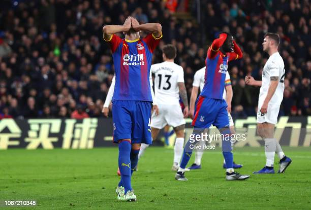 Luka Milivojevic of Crystal Palace reacts after missing a chance during the Premier League match between Crystal Palace and Burnley FC at Selhurst...