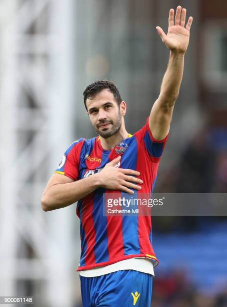 Luka Milivojevic of Crystal Palace salutes the crowd after the Premier League match between Crystal Palace and Manchester City at Selhurst Park on...