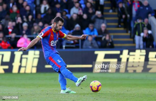 Luka Milivojevic of Crystal Palace scores his side's first goal from the penalty spot during the Premier League match between Crystal Palace and...