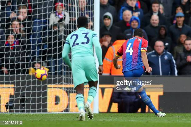 Luka Milivojevic of Crystal Palace scores his side's second goal from the penalty spot during the Premier League match between Crystal Palace and...