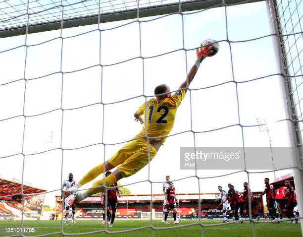 Luka Milivojevic of Crystal Palace scores his team's first goal past Aaron Ramsdale of AFC Bournemouth during the Premier League match between AFC...