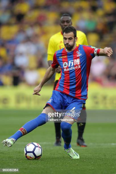 Luka Milivojevic of Palace in action during the Premier League match between Watford and Crystal Palace at Vicarage Road on April 21 2018 in Watford...