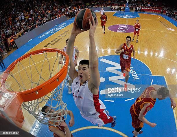 Luka Mitrovic #9 of Crvena Zvezda Telekom Belgrade in action during the Turkish Airlines Euroleague Basketball Top 16 Date 10 game between...