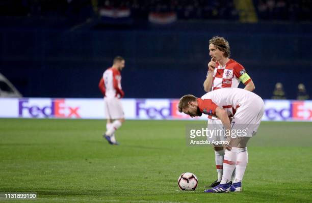 Luka Modric and Ivan Rakitic of Croatia National Football Team prepare for a free kick during the EURO 2020 Group E qualification football match...