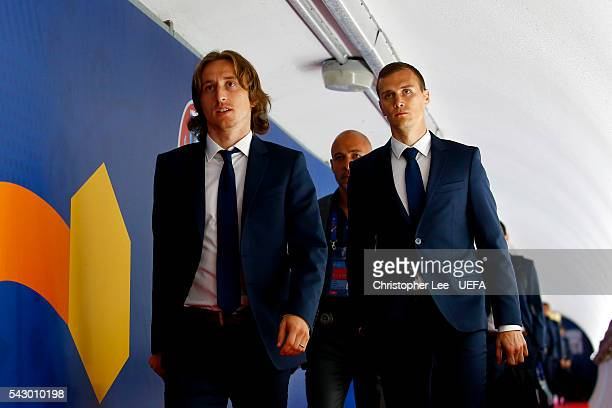 Luka Modric and Marko Rog of Croatia are seen on arrival at the stadium prior to the UEFA EURO 2016 round of 16 match between Croatia and Portugal at...