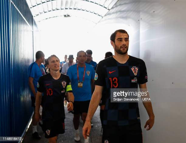 Luka Modric and Tin Jedvaj of Croatia after winning the UEFA Euro 2020 Qualifiers Group E match between Croatia and Wales at stadium Gradski Vrt on...
