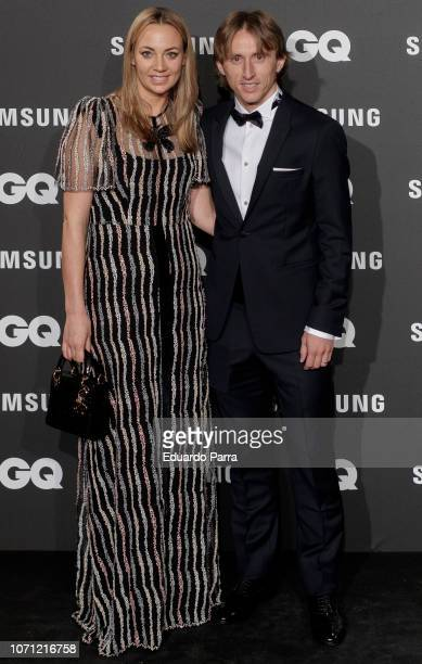 Luka Modric and wife Vanja Bosnic attend the 'GQ Men of the Year' awards photocall at Palace hotel on November 22 2018 in Madrid Spain