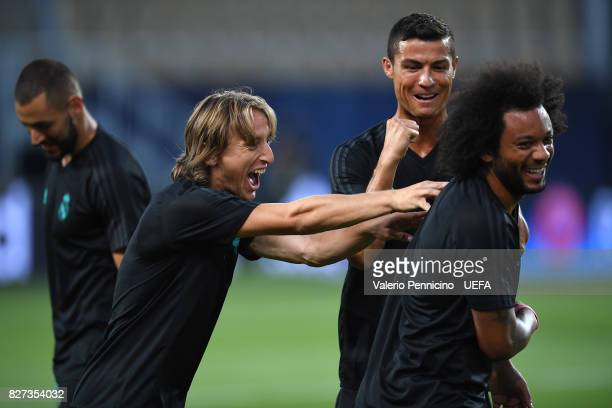 Luka Modric Cristiano Ronaldo and Marcelo of Real Madrid during the training session ahead of the UEFA Super Cup between Real Madrid and Manchester...