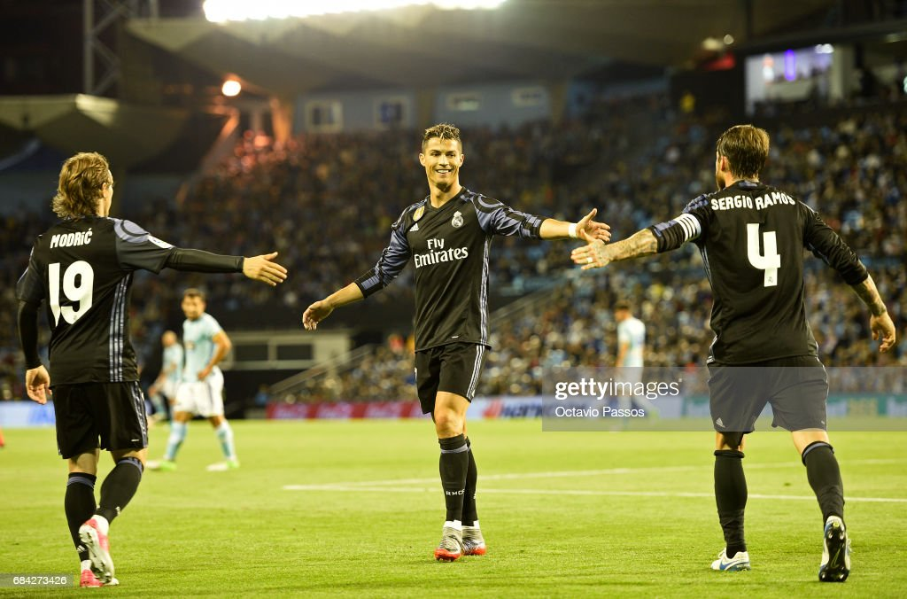 Luka Modric, Cristiano Ronaldo and Sergio Ramos of Real Madrid celebrates the third goal against RC Celta during the La Liga match, between Celta Vigo and Real Madrid at Estadio Balaidos on May 17, 2017 in Vigo, Spain.
