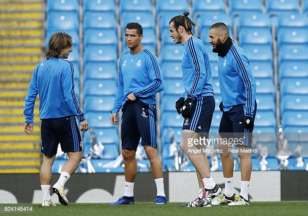 Luka Modric Cristiano Ronaldo Gareth Bale and Karim Benzema of Real Madrid during a training session ahead of the UEFA Champions League Semi Final...