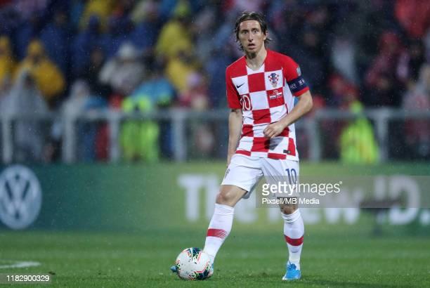 Luka Modric from Croatia during the UEFA Euro 2020 Qualifier between Croatia and Slovakia on November 16, 2019 in Rijeka, Croatia.