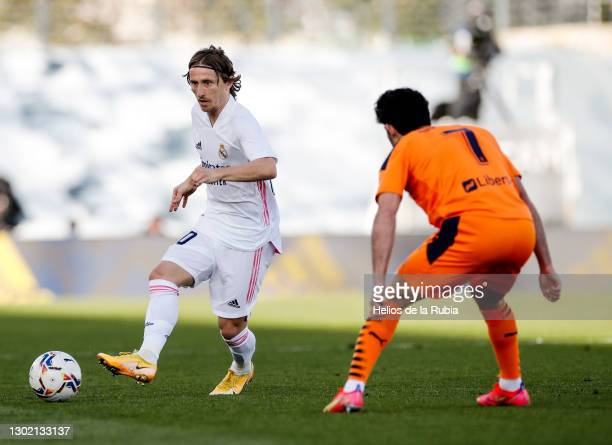 Luka Modric from Real Madrid and Gonçalo Guedes from Valenia CF during the La Liga Santander match between Real Madrid and Valencia CF at Estadio...