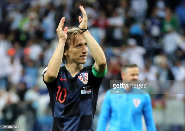 Luka Modric of Croatia acknowledges the fans following the 2018 FIFA World Cup Russia group D match between Argentina and Croatia at Nizhny Novgorod...