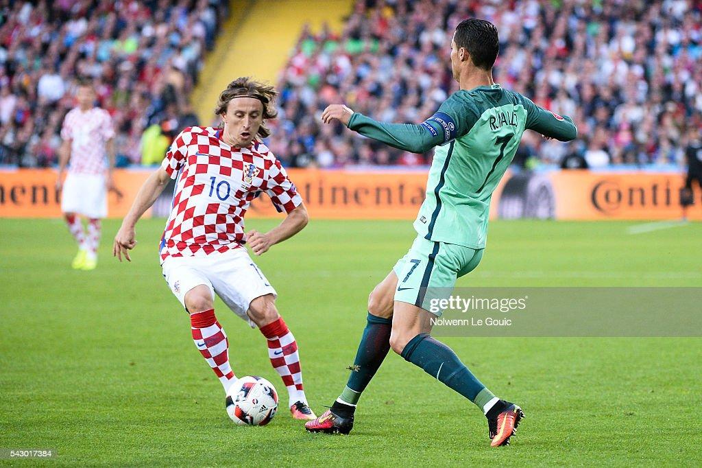 d0ca2ee2875 Croatia v Portugal - Round of 16  UEFA Euro 2016. Luka Modric of Croatia  and Cristiano Ronaldo ...
