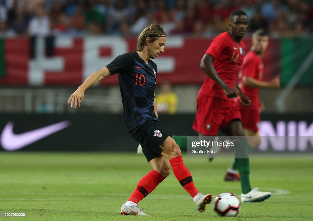 Luka Modric of Croatia and Real Madrid in action during the International Friendly match between Portugal and Croatia at Estadio Algarve on September 6, 2018 in Faro, Portugal.