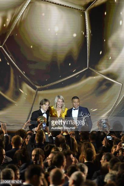 Luka Modric of Croatia and Real Madrid Kylian Mbappe of France and Paris SaintGermain and Ada Hegerberg of Sweden and Olympique Lyonnais pose with...