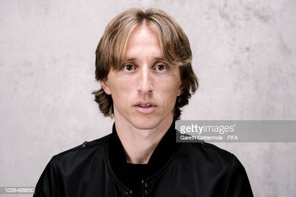 Luka Modric of Croatia and Real Madrid poses for a portrait prior to The Best FIFA Football Awards at London Marriott Hotel County Hall on September...
