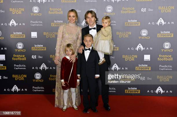 Luka Modric of Croatia and Real Madrid poses with his wife Vanja Bosnic and their children Ivano and Ema as they arrive to the 2018 Ballon D'Or...