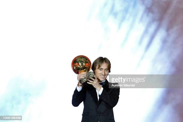 Luka Modric of Croatia and Real Madrid wins the 2018 Ballon D'Or at Le Grand Palais on December 3 2018 in Paris France
