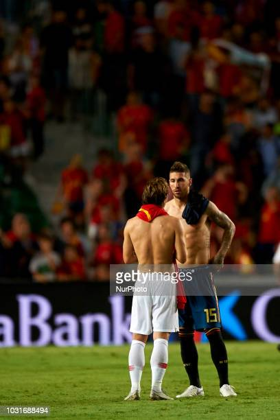 Luka Modric of Croatia and Sergio Ramos of Spain talk after the UEFA Nations League football match between Spain and Croatia at Martinez Valero...