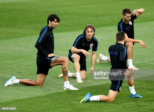 Luka Modric of Croatia and teammates during a Croatia training session at Luzhniki Stadium on July 9 2018 in Moscow Russia