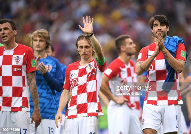Luka Modric of Croatia applauds fans after the 2018 FIFA World Cup Final between France and Croatia at Luzhniki Stadium on July 15 2018 in Moscow...