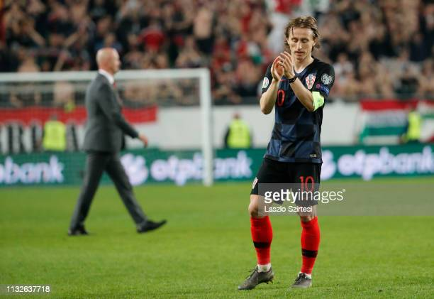 Luka Modric of Croatia applauds the fans during the 2020 UEFA European Championships group E qualifying match between Hungary and Croatia at Groupama...