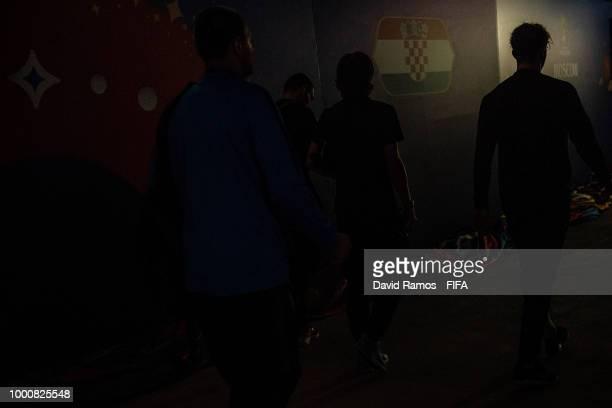 Luka Modric of Croatia arrives at the stadium ahead of the 2018 FIFA World Cup Russia Final between France and Croatia at Luzhniki Stadium on July 15...